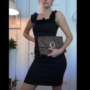 ZARA black body conscious dress w ruffle collar